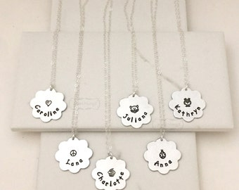 Flower Name Necklace, Silver owl necklace, Hand Stamped Personalized Necklace, kids, owl, custom jewelry, Christmas gifts girl