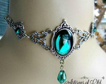Emerald Victorian Circlet or Emerald Choker, Choose Style, Made to Order