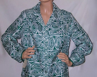 70s Blouse,  Green & White Geometric Print Polyester 1970s Shirt, Alex Colman California, Original Tags Attached