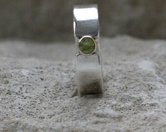 Woodland Green Peridot gold bezel silver alternative engagement ring, 9ct gold bezel ring band custom Handmade UK Fiona Lewis