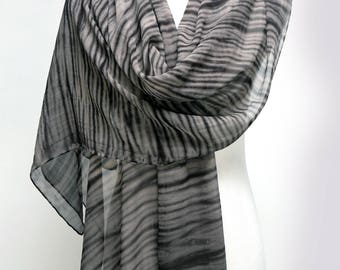 Black Stripe Large Wrap/Scarf Shibori