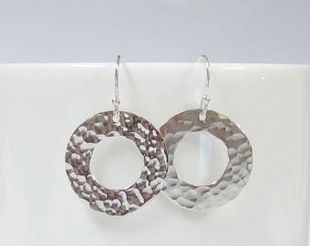 20 mm. 925 Sterling Silver Open Round Earrings Hammered Circle Earrings Textured Silver Round Dangle Earrings Lovely Silver Jewelry Handmade