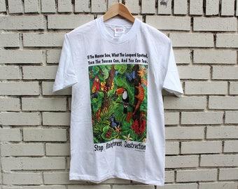 Vintage STOP RAINFOREST DESTRUCTION Shirt Size S Small Hanes Heavyweight tag 100% Cotton Environmentalist