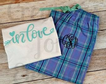 Valentines Pajamas, Valentines Shirt Monogrammed Loungewear, Plaid Pajama Pants, Monogrammed Plaid Pajama Pants and Shirt, Valentines PJs