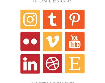 19 Rounded Square Social Media Buttons for Blog/Website/more - Instant Download - Red, Yellow + Orange