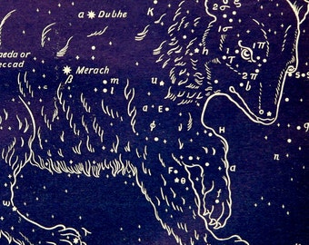 1911 Antique print of STARS. CONSTELLATIONS. Great Bear. Astronomy print. Zodiacal Constellations. Zodiac. 116 years old celestial chart