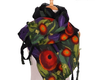 SALE!!! nuno felted artistic scarf, black multicolor meadow , wrap, neckwear silk wool nunofelted scarf, felted shawl, felted eco wool scarf