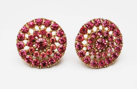Coro  Rhinestone Earrings - Pink Round - mid century - screw back Earring - Gold plated metal