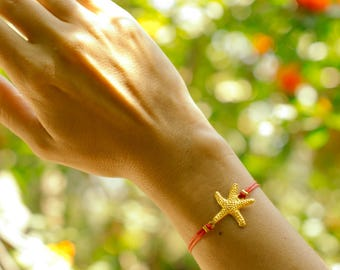 Starfish bracelet, red bracelet, gold sea star charm, seastar summer nautical jewelry, red cord bracelet, gift for her, beach gold bracelet