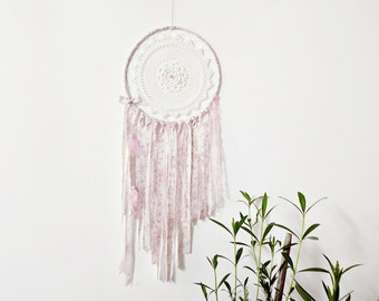 Bohemian dream catcher, wall hanging, large, white, pink, bedroom decor, boho dreamcatcher, wall decoration, handmade, unique, mandala