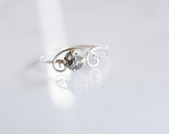 Meteorite Ring in Sterling Silver and Campo del Cielo - Engagement Ring Textured