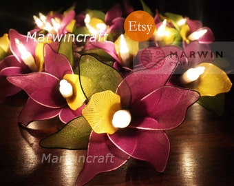 Battery or Plug 20 Sugar Purple Orchid Flower Fairy String Lights Hanging Party Patio Wedding Spa Gift Home Living Bedroom Holiday Decor