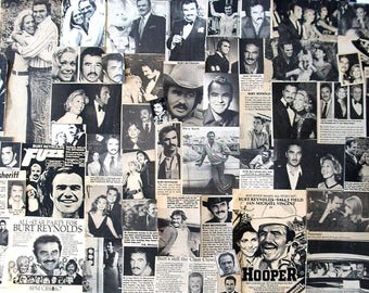BURT REYNOLDS ~ Boogie Nights, Evening Shade, Cannon Ball Run, Hooper, Smokey and the Bandit ~ B&W Clippings from 1960-1989 - Batch 1