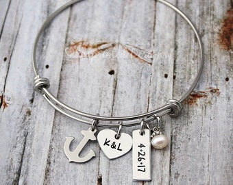 Personalized Bangle - Anniversary Gift - Wedding Bracelet - Initials - Date - Pearl - Anchor - Couples Jewelry - Engraved - Custom