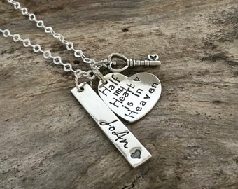 Half My Heart is in Heaven | Loss of Husband |Husband memorial | Bereavement gift |Remembrance Jewelry | Loss of spouse | Grief and Mourning