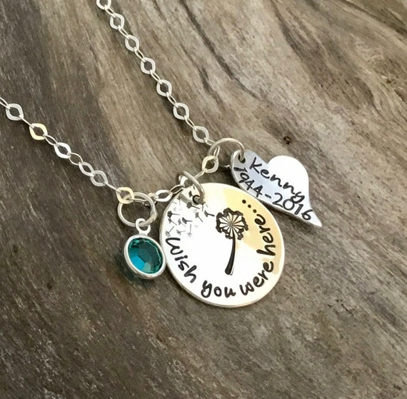 Wish you were here / Memorial Jewelry / Memorial Gift / Memorial Necklace / Loss of Father / In Memory of Sympathy Gift / Funeral Gift