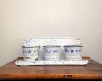 Antique Enamel Laundry Rack, Blue and White French Laundry Rack, Porcelain Laundry Rack, Soap Rack, Savon & Cristaux, Herb Pots
