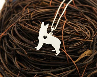 German Shepherd necklace Personalized Engraveable sterling silver Dog pendant With Heart - Dog Breed Jewelry Best Memorial Pet Gift