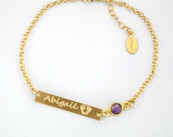 Footprint bracelet, new mom gift, Personalized Birthstone bracelet, personalized baby bracelet, new mom bracelet, mothers day gift handprint