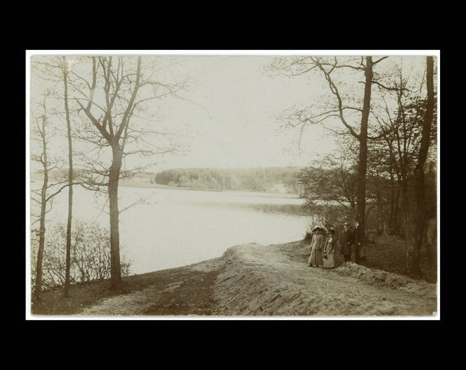 Figures at Lakeside Trail, Early 1900s: Vintage Snapshot Photo RPPC (74571)