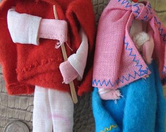 Handmade Central American Cloth Ragdolls. Vintage 1970's Age. Guatemala Region Little Collectible Dolls. Hand Crafted Folk Art Dolls. Pair