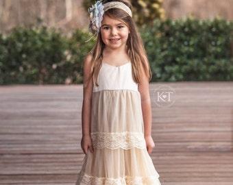Ready to Ship- Cream Satin Sweetheart Dress- Flower Girl, beige, Wedding, Tulle, Girl, Toddler, country, rustic dress, long