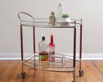Vintage Bar Cart  Mid Century Modern Glass and Wood