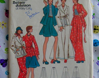 Betsey Johnson Alley Cat Jacket Wide Leg Pants Skirt Miss 14 bust 36 Butterick 3290 uncut factory folded vintage 1970s sewing pattern