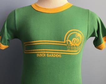 80s Vintage Busch Gardens Loch Ness Monster Williamsburg Virginia rollercoaster amusement park ringer T-Shirt - SMALL