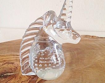 Vintage Glass Unicorn Paperweight