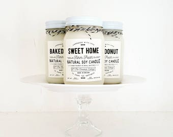 Farm Fresh Candle Collection • Baked Bread, Jelly Donut or Sweet Home • 14oz Jar • Farmhouse • Rustic • Home Decor • Bakery • Kitchen