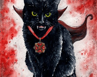 Vampire Kitten: Fine Art Watercolour Black Cat Print