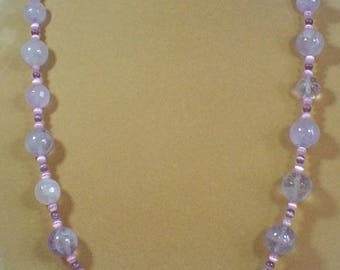 "24"" Of Beautiful Light Lavender Amethyst with Pink and Purple Cats' Eye Necklace - N465"