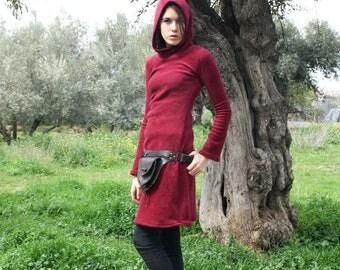 Long Fleece Hoodie, Red Warm Pullover, Bordeaux Fleece Dress