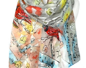 Hand Painted Scarf. Genuine Art. Woman Birthday Gift. Cardinal Birds Silk Scarf Authentic Painting. Anniversary for Her. 18x71in MADEtoORDER