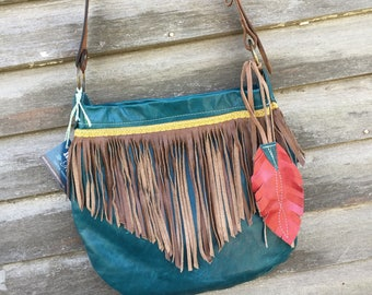 SHIPS TODAY Teal Leather & Fringe Hobo w/ Tooled Belt Strap and Feather