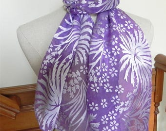 Hand dyed Devore satin silk scarf in shades of orchid purple, ready to ship