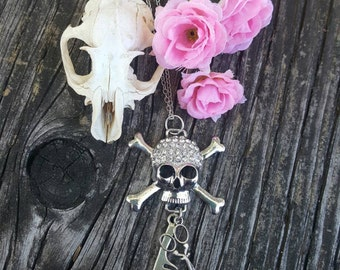 Skull and Crossbones Jolly Roger Gem Stone Scissor and Comb Charm Hair Stylist Necklace