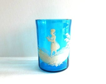 Antique Vintage European Mary Gregory Bohemian Czech Glass Tumbler -- Early Model 19th-Century
