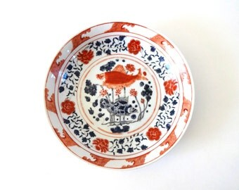 Vintage Japanese Koi Fish Hand-Painted Porcelain Rust and Cobalt Bowl / Dish / Plate