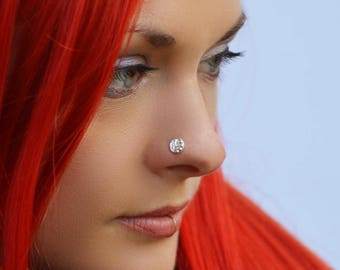 Silver disc nose stud, nose jewellery, silver stud, unique nose jewellery, geometric, tribal nose stud, earing, gypsy silver stud