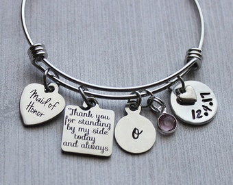 Maid Of Honor Thank You For Standing By My Side Today And Always Bracelet, Wedding Gifts, Maid of Honor Gifts, Maid of Honor, Wedding, Gifts