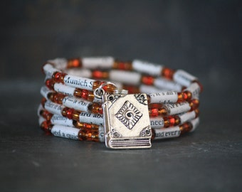 The Book Thief jewelry, The Book Thief bracelet, The Book Thief gift, book bracelet, book jewelry, book gift, book bead bracelet, literary