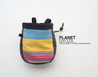 Chalk Bag - patchwork / blue and yellow and stripes / gift for him