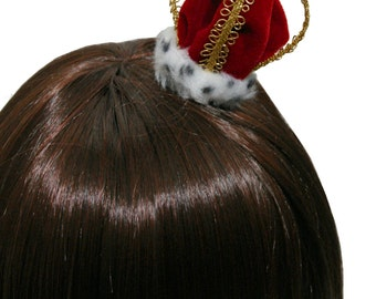 Ultra Mini Classic Velvet and Spotted Faux Fur Queen Crown - Made to Order - Available in 2 Colors