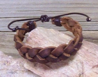 Braided Leather Bracelet or Anklet - Distressed Brown Leather -  Hippie Braided Leather for Men or Women