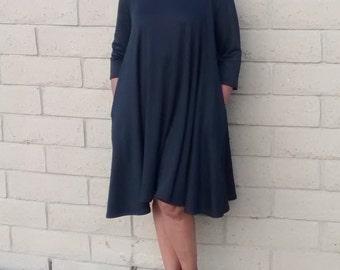 Black Knit Midi Dress, Three Quarter Sleeve Swing Dress~ Ponte Knit Scoop Neck Dress~Side Seam Pockets~Trapeze Dress~All Sizes