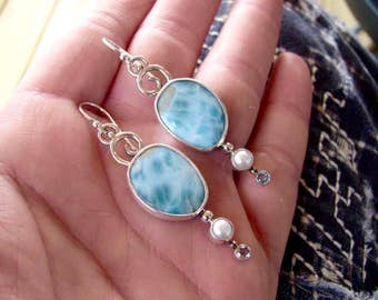 Blue Larimar Earrings - Pearl Earrings - Drop Earrings - Multi Gemstone Earrings - Topaz Earrings - Beach Earrings