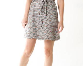 Vintage Shirt Dress Abstract Wrap Dress Gray Retro Pattern Day Summer Dress / Womens Size Small XS