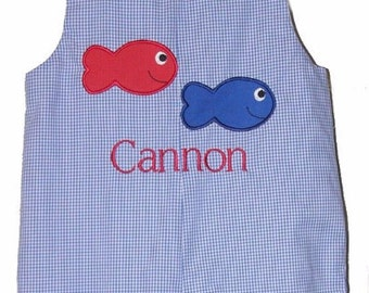Custom made Personalized Monogrammed Red and Blue Fish Jon Jon , Royal Blue Gingham